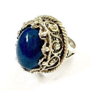 Vintage Jewelry - Antique Sterling Silver Blue Stone Ring